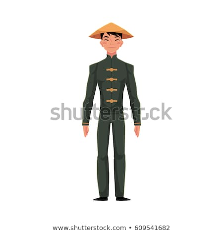 chinese man in traditional national costume vector illustration stock photo © nikodzhi