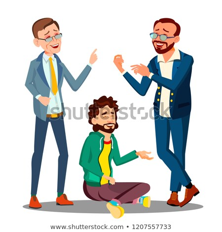 Creative Approach, Man In Casual Clothes Sitting On Floor Among Businessmen In Suits Vector. Isolate Stock photo © pikepicture