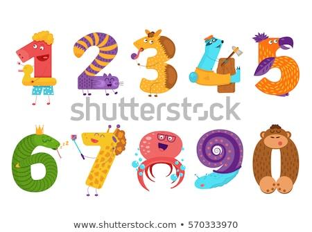 Girafe nombre six illustration lettre graphique Photo stock © colematt