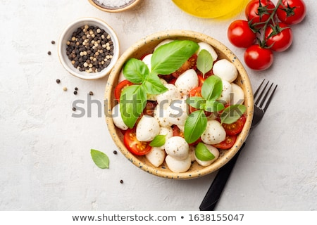 Stockfoto: Caprese · salade · kom · Blauw · tomaat · mozzarella · basilicum