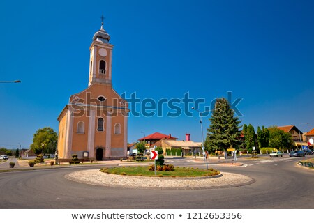 Village of Bilje near Osijek square and church view Stock photo © xbrchx