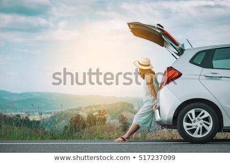 mooie · jonge · vrouw · jong · meisje · reiziger · genieten - stockfoto © andreypopov