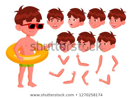Boy Kid Vector. Positive Child In Water Park. Emotions, Gestures. Summer Vacation. Animation Creatio Stock photo © pikepicture