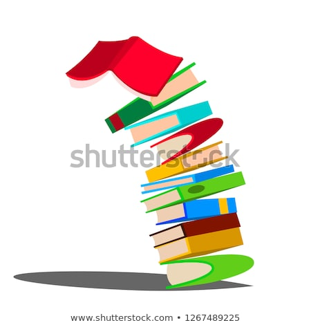 falling down stack of book vector huge pile of books education design isolated cartoon illustrati stock photo © pikepicture