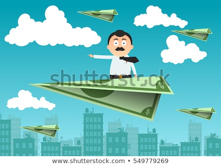 paper airplane of dollars vector flying money illustration stock photo © pikepicture