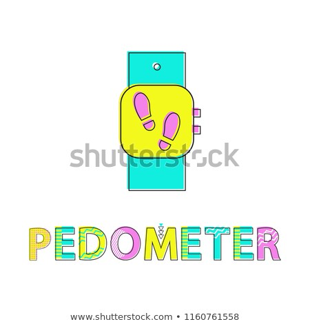 Pedometer Wristwatch Poster Vector Illustration Stock photo © robuart
