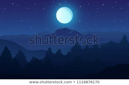 panorama of mountains with full moon stock photo © vapi