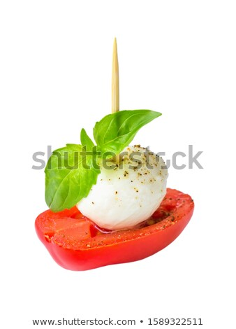 caprese · salatası · malzemeler · renkli · kiraz · domates · fesleğen · mozzarella - stok fotoğraf © yuliyagontar