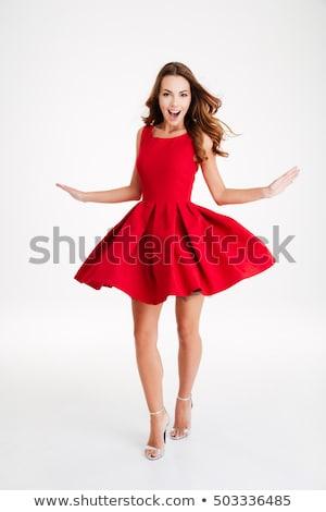Сток-фото: довольно · красное · платье · изолированный · белый · лице