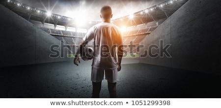 futbolista · futbolista · deporte · fútbol · negro · silueta - foto stock © colematt