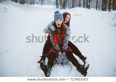 девушки весело улице зима город красный Сток-фото © Stasia04