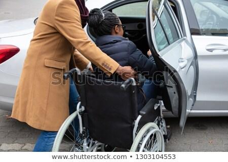 Foto stock: Homem · inválido · esposa · em · movimento · carro · mulher