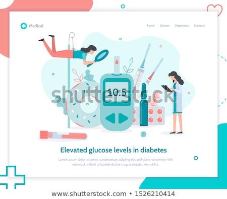 Diyabet iniş sayfa doktor büyüteç kan Stok fotoğraf © RAStudio