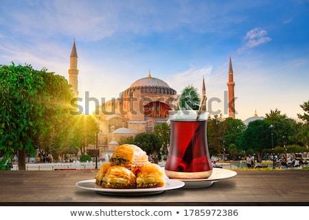 ストックフォト: 茶 · 日没 · イスタンブール · トルコ · 太陽 · 通り