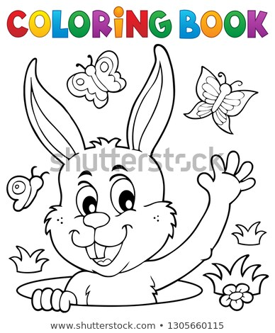 Stock photo: Coloring book lurking Easter bunny