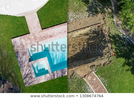 Aerial of Before and After Pool Build Construction Site Stock photo © feverpitch
