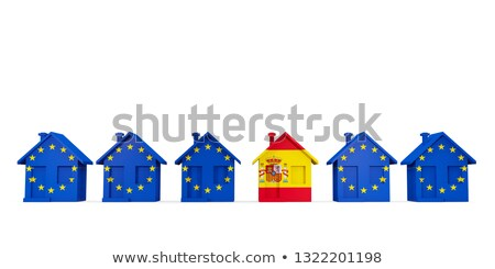 House with flag of spain in a row of EU flags Stock photo © MikhailMishchenko