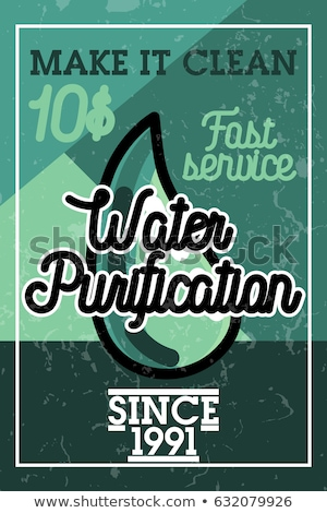 Stock photo: Color vintage water purification banner
