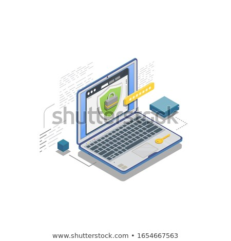 cloud lock icon cloud protection icon cloud security concept flat design vector illustration iso stock photo © kyryloff
