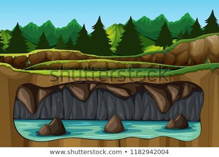 Jelenet barlang mély erdő illusztráció fa Stock fotó © colematt
