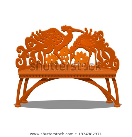 Wooden carved bench in the form of fantasy birds isolated on white background. Vector cartoon close- Stock photo © Lady-Luck