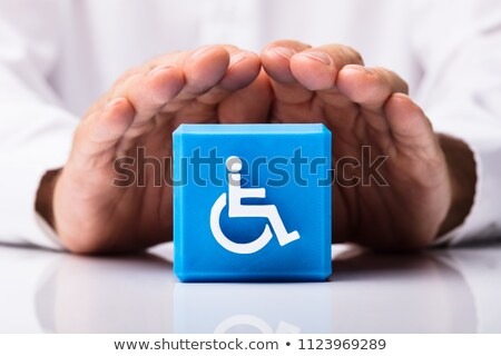 Human Protecting Cubic Block With Disabled Handicap Icon Stock photo © AndreyPopov