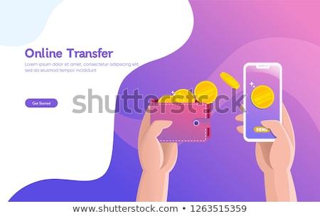 Stock photo: Money transfer isometric 3D landing page.