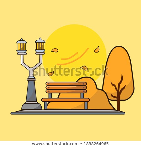 Autumn Season Icons, Bench and Tree, Street Lamp Stock photo © robuart