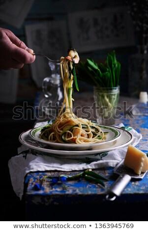 bourré · spaghettis · squash · accent · alimentaire · vert - photo stock © zoryanchik