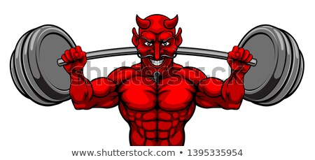 Devil Weight Lifting Body Builder Sports Mascot Stock photo © Krisdog