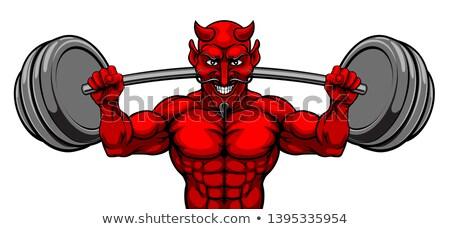 vector · lichaam · bouwer · Rood · Maakt · een · reservekopie · zijaanzicht - stockfoto © krisdog
