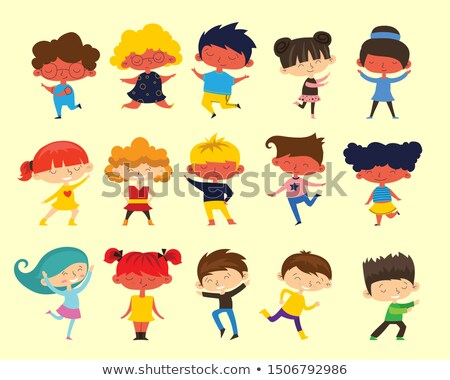 multicultural characters children kids set vector stock photo © pikepicture