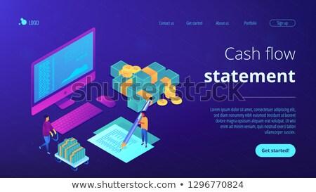 Przepływów pieniężnych izometryczny 3D lądowanie strona finansowych Zdjęcia stock © RAStudio