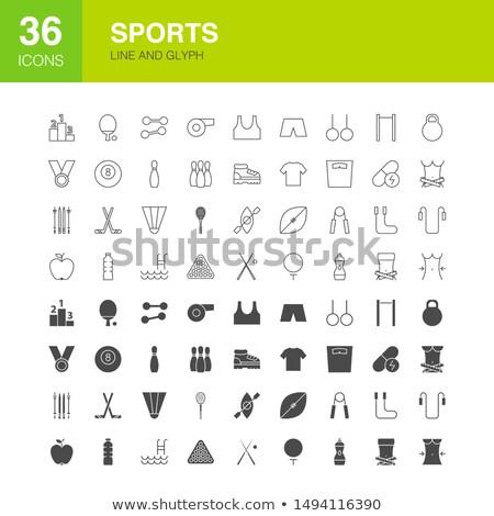 Diétázás fitnessz vonal háló ikonok sport Stock fotó © Anna_leni