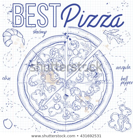 Pizza with shrimp on a notebook page Stock photo © netkov1