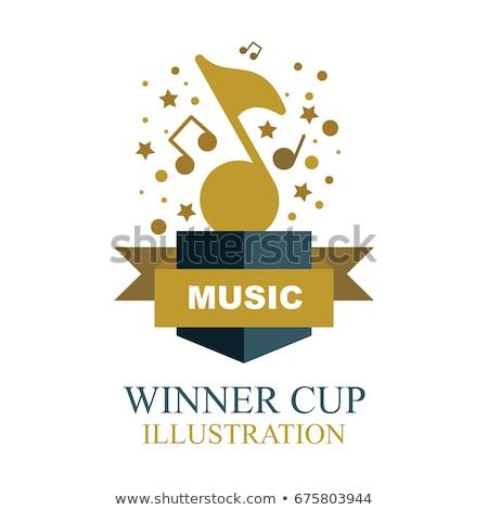 Muzyki zauważa złota trofeum Zdjęcia stock © robuart