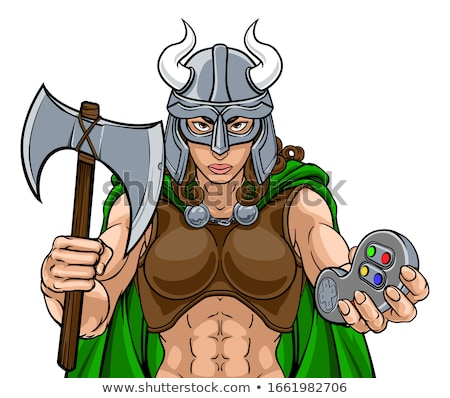 Viking gladiator guerrier mascotte jeux vidéo homme Photo stock © Krisdog