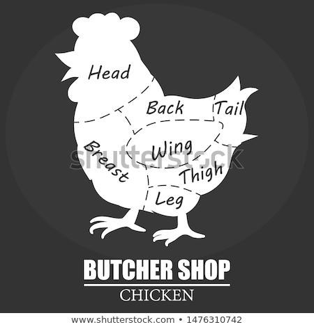 Carnicero tienda etiqueta pollo silueta eco Foto stock © Andrei_