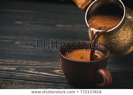 Török kávé edény pörkölt kávé csendélet Stock fotó © grafvision
