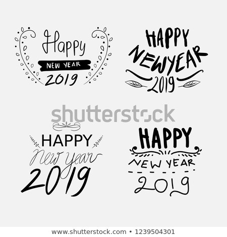 happy · new · year · yaratıcı · grafik · mesaj · kış · dizayn - stok fotoğraf © ikopylov