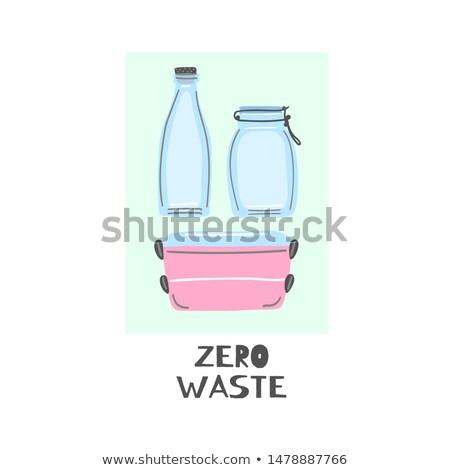ガラス ボトル jarファイル 弁当箱 ゼロ 廃棄物 ストックフォト © user_10144511