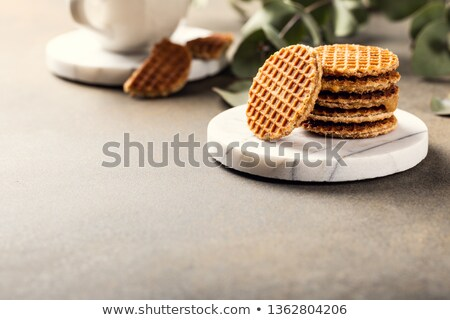 Traditional dutch cookies syrupwaffles Stock photo © Melnyk