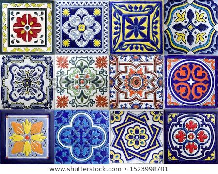 bleu · céramique · tuiles · texture · peuvent - photo stock © boggy