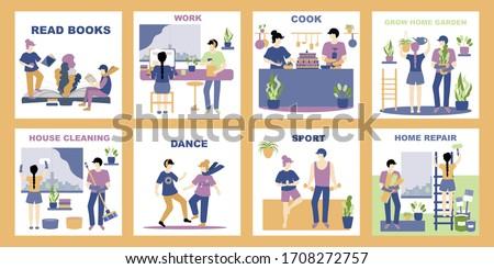 Homme personnage différent activités Guy séance Photo stock © jossdiim