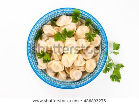 Meat Dumplings - russian boiled pelmeni in plate Stock photo © joannawnuk