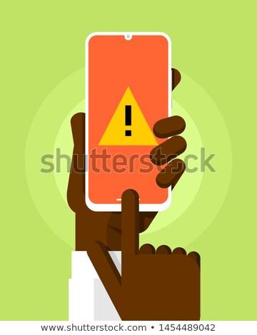 Okostelefon vázlat emberi kéz figyelmeztetés üzenet narancs Stock fotó © karetniy