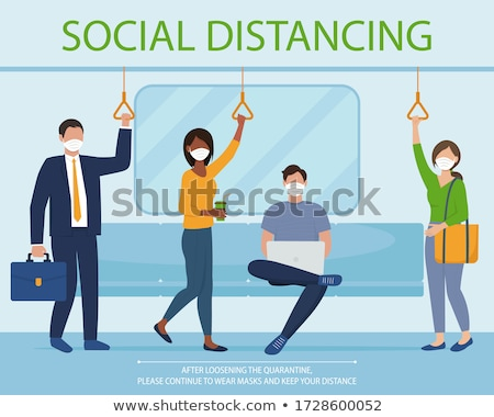 Social distance. Coronavirus quarantine. Businessman travels in underground, sits and reads newspape Stock photo © vkstudio
