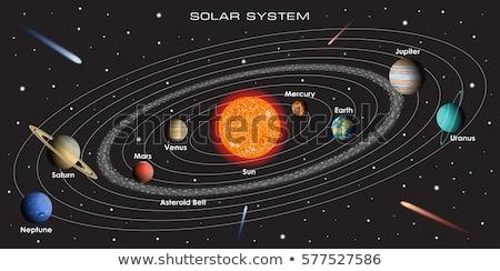 Naprendszer bolygók csillagok nap hold fekete Stock fotó © Elenarts