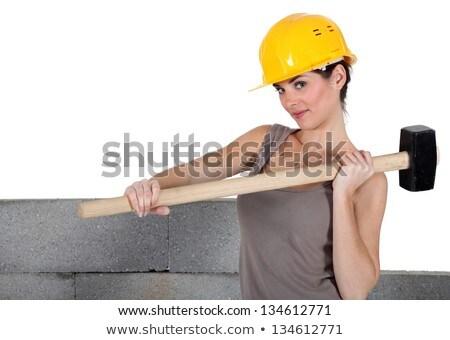 Tradeswoman holding a mallet Stock photo © photography33