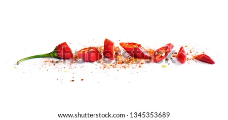 Two fresh red chilies isolated on white background Stock photo © calvste